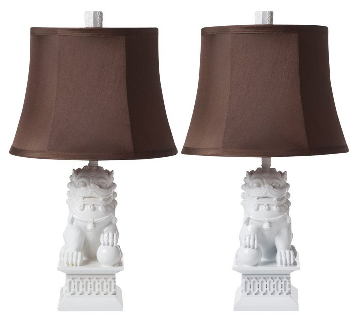Mini Foo Dog Lamp Set, Gloss White