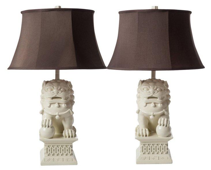 Large Foo Dog Lamp Set, Ivory Bisque