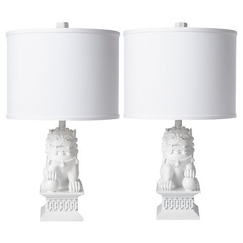 S/2 Mini Foo Dog Table Lamps, White