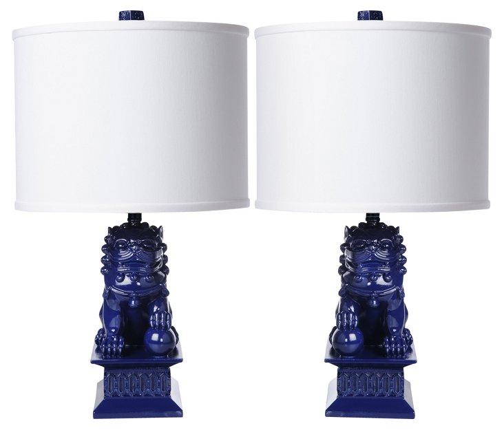 Mini Foo Dog Table Lamp Set, Navy