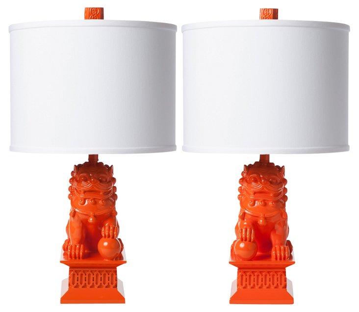 Mini Foo Dog Table Lamp Set, Orange