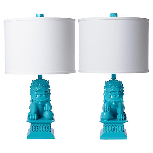 S/2 Mini Foo Dog Table Lamps, Seaside