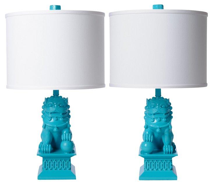 Mini Foo Dog Table Lamp Set, Seaside