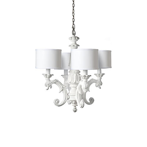 Chandelier w/ 4 Shades, White