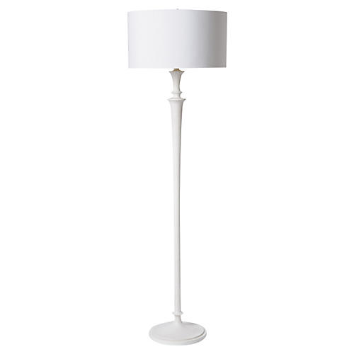 Molded Plaster Floor Lamp, White