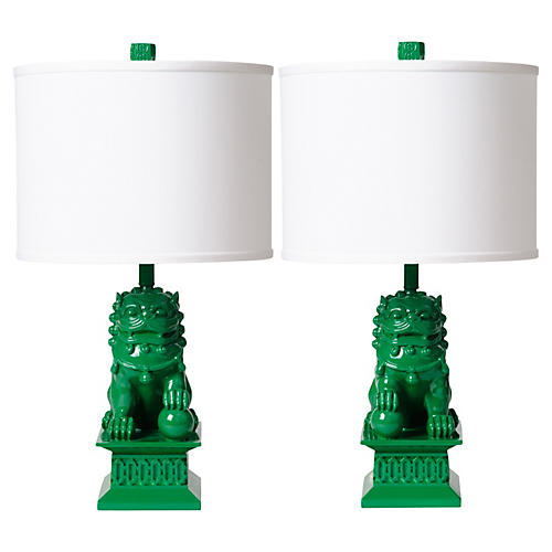 S/2 Foo Dog Table Lamps, Kelly Green
