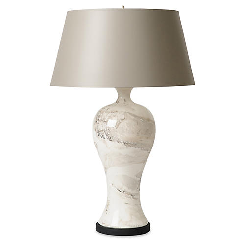 Yuan Vase Table Lamp, White