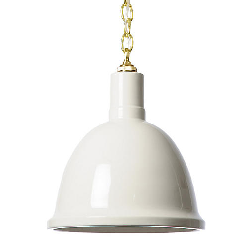 Hand-Glazed Ceramic Pendant, White/Brass