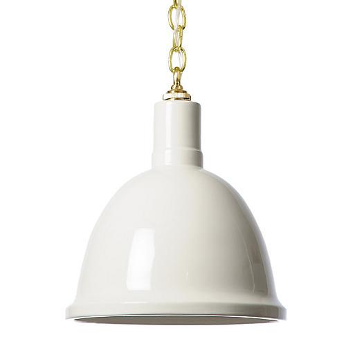 Hand-Glazed Ceramic Pendant, White/Brass