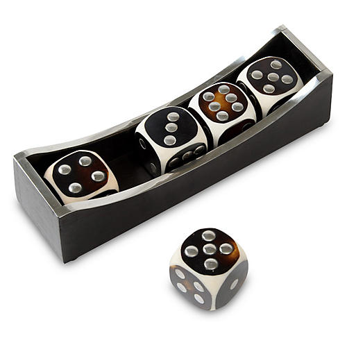 S/5 Bone Dice, Wood