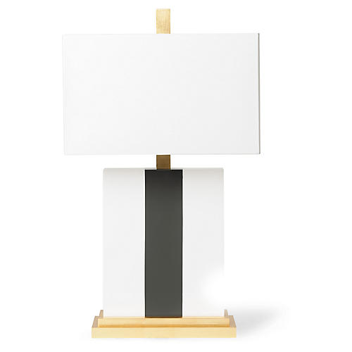 Plank Table Lamp, Gray/White