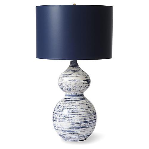 Julie Table Lamp, Navy/White