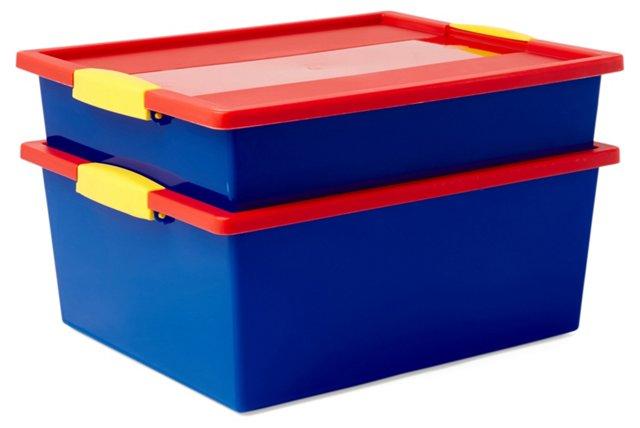 S/2 Snap Handle Storage Boxes, Large