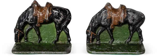 Vintage Iron Horse Bookends