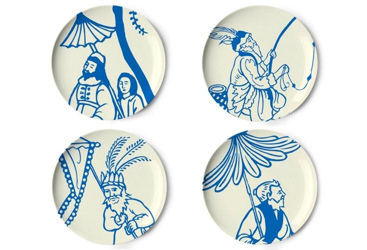 Asst/4 Garden Dessert Plates, Blue
