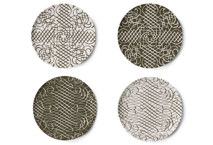 Asst/4 Flourish Coasters, Brown