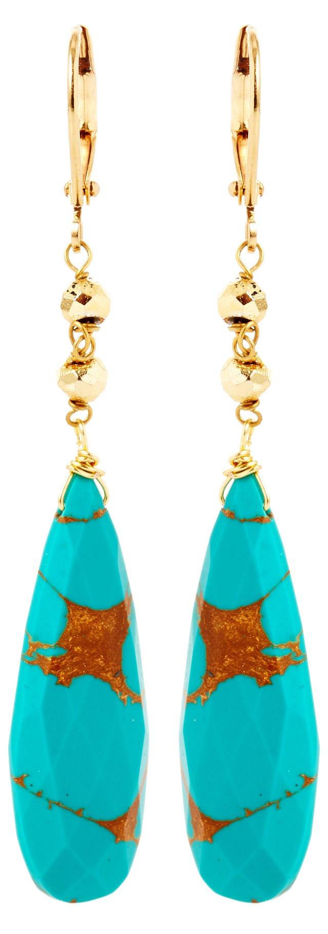 Turquoise Dagger w/ Pyrite Earrings