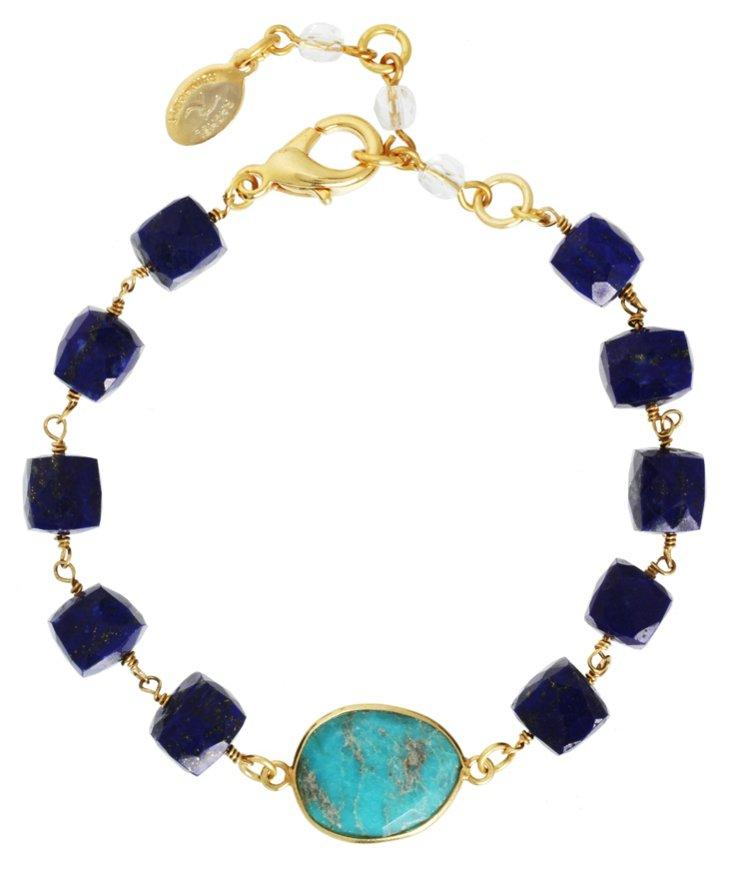 Blue Lapis w/ Turquoise Bracelet