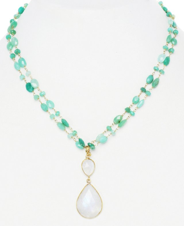 Chrysoprase & Moonstone Pendant Necklace