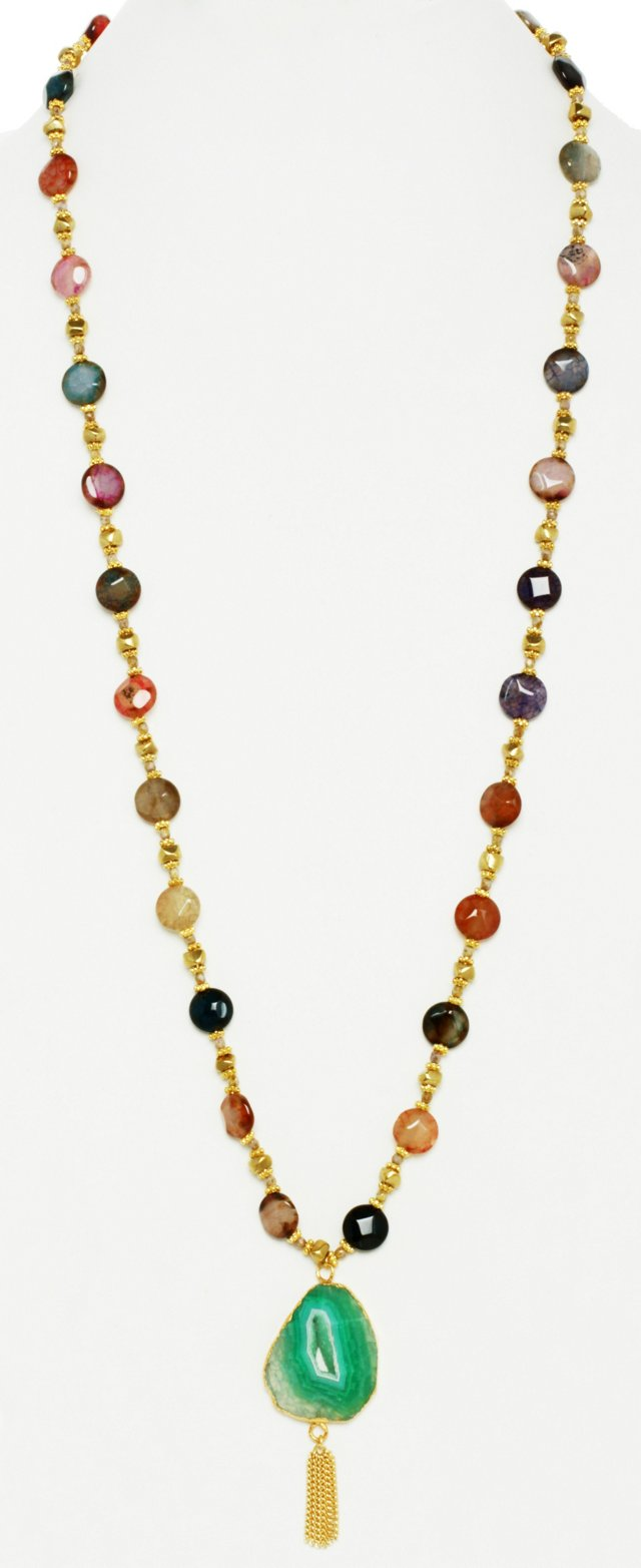 14K Gold-Plated w/ Agate Necklace
