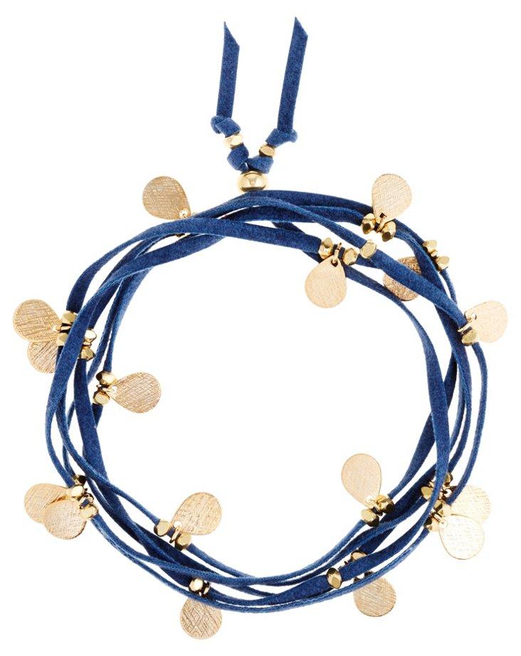 Navy Leather Wrap Bracelet