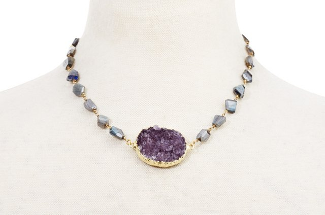 Labradorite & Purple Drusy Necklace