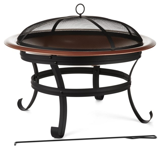 "30"" Round Fire Pit, Copper"