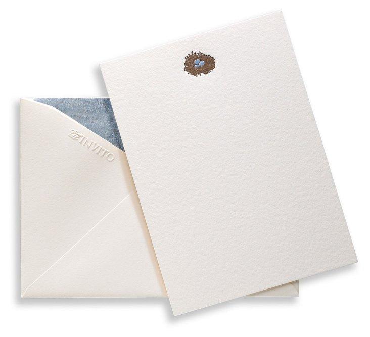 S/4 Letterpress Nest Eggs Note Cards