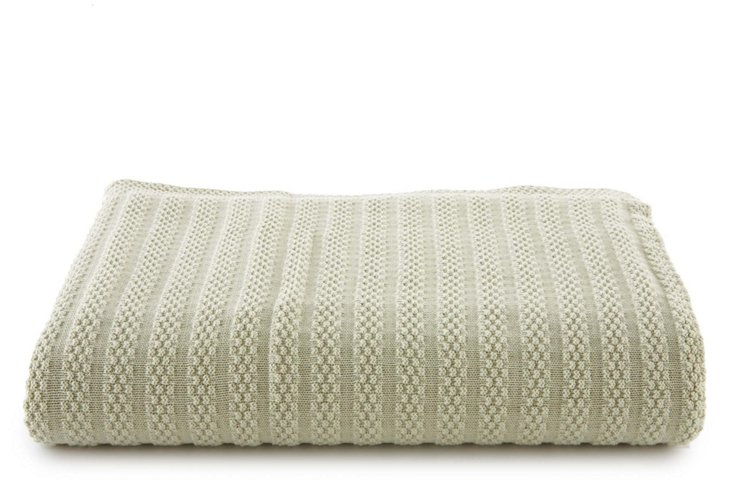 Rhapsody Knitted Cotton Throw, Sage