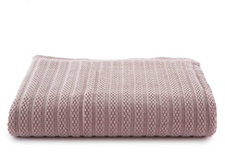 Rhapsody Knitted Cotton Throw, Rosewood