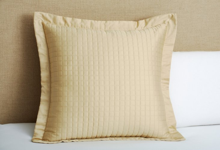 Cotton Quilted Euro Sham, Taupe