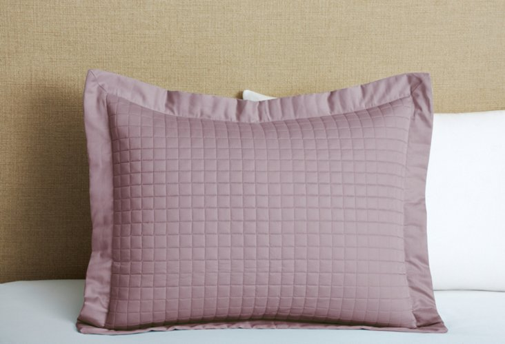 Cotton Quilted Sham, Rosewood