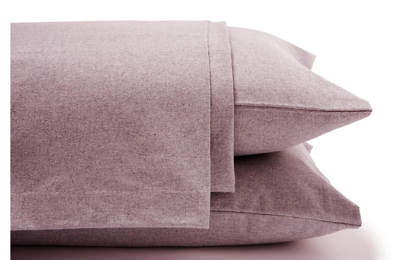 Heathered Flannel Sheet Set, Burgundy