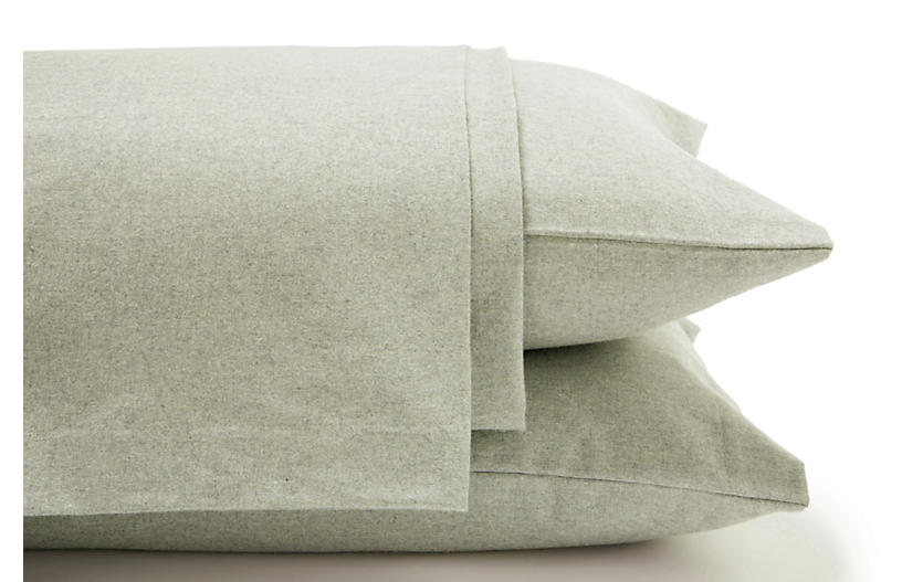 Heathered Flannel Sheet Set, Sage