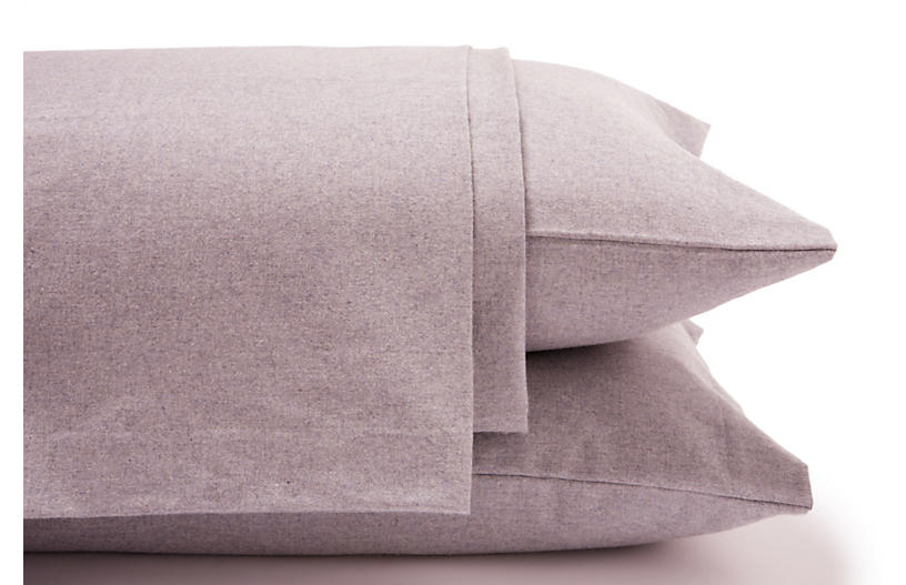 Heathered Flannel Sheet Set, Lilac