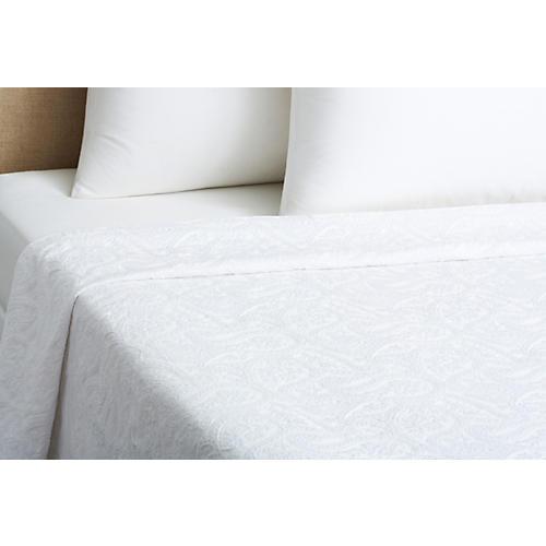 Kashmir Paisley Matelassé, White/White