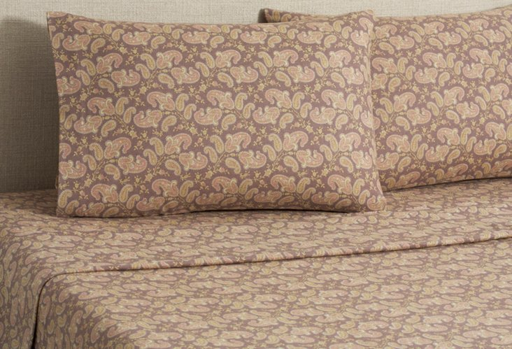 Flannel Paisley Sheet Set, Brown