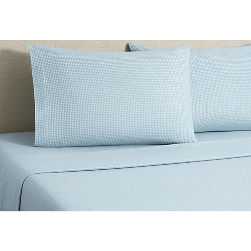 Flannel Gingham Sheet Set, Blue