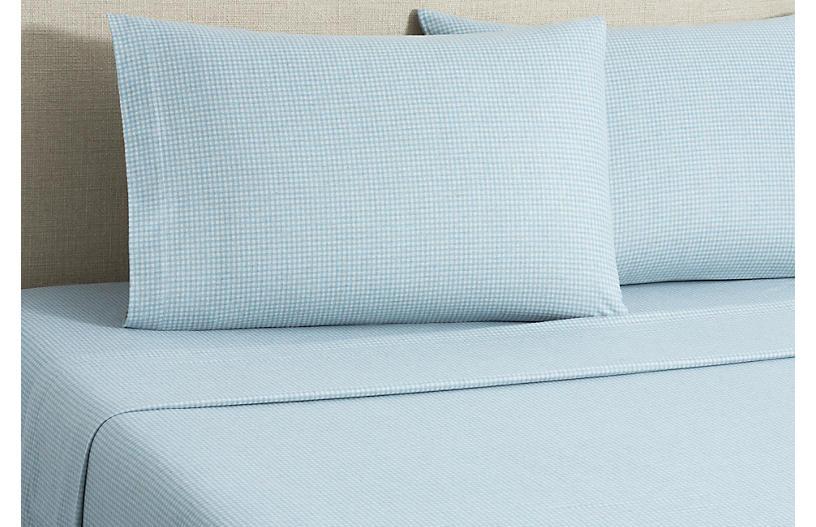 Flannel Gingham Sheet Set, Blue