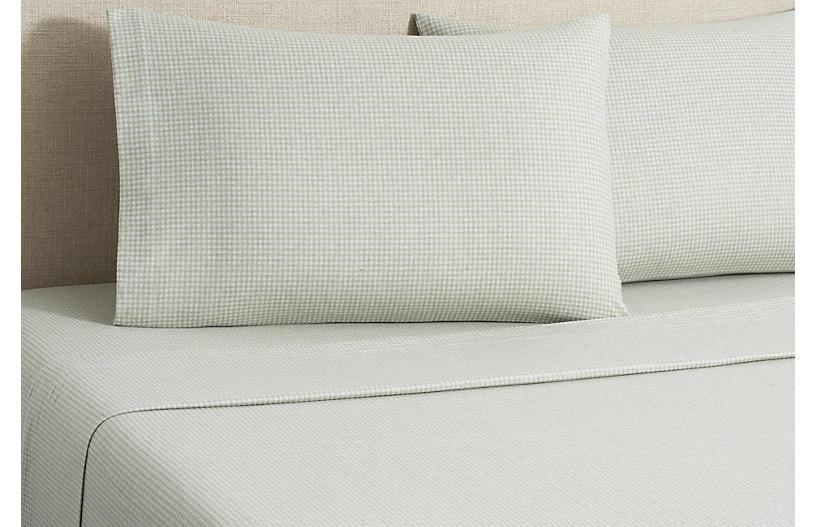 Flannel Gingham Sheet Set, Tan
