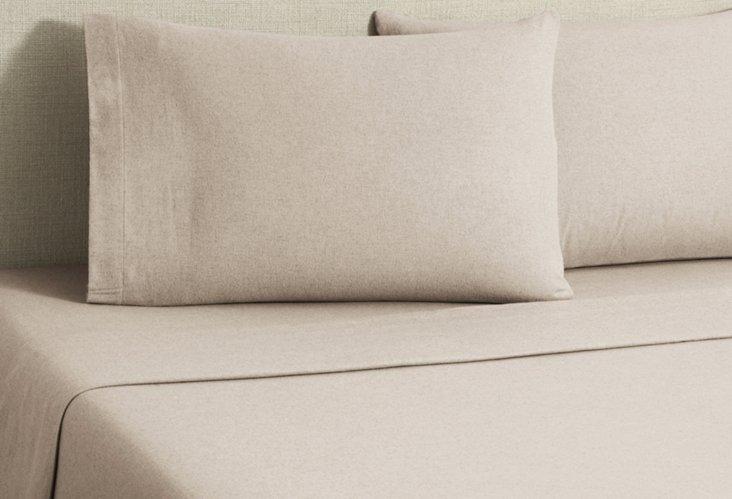 Flannel Heather Sheet Set, Tan