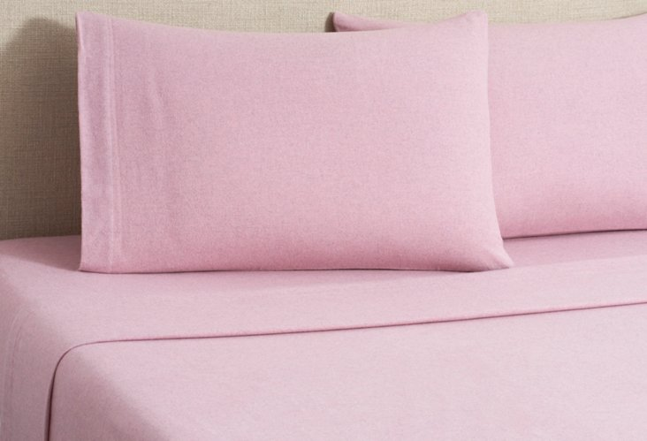 Flannel Heather Sheet Set, Mauve