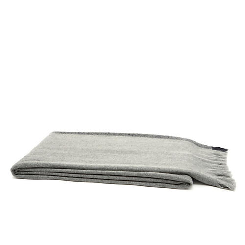 Cashmere Border Throw, Gray/Navy