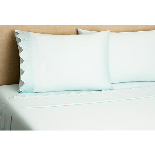 Scallop Sheet Set, Blue