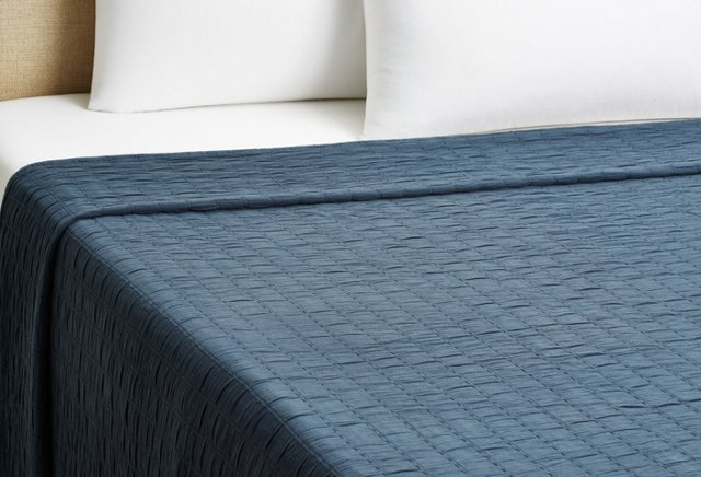 Relaxed Rows Coverlet, Blue