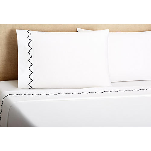 Francesa Scalloped Sheet Set, Navy