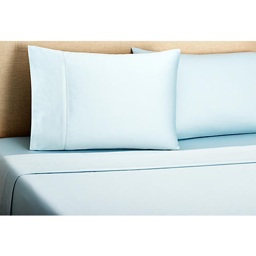 Hemstitch Sheet Set, Azure