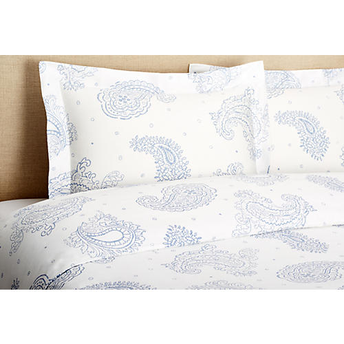 Sateen Paisley Mini Duvet Set, Blue
