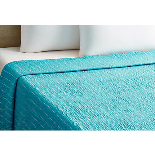 Skip Stitch Coverlet, Blue
