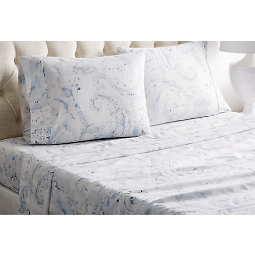 Autumn Flower Sheet Set, Blue